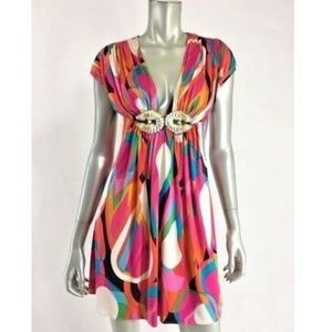 Sky Silk Dress Small Pink Deep V Neck Rhinestone J